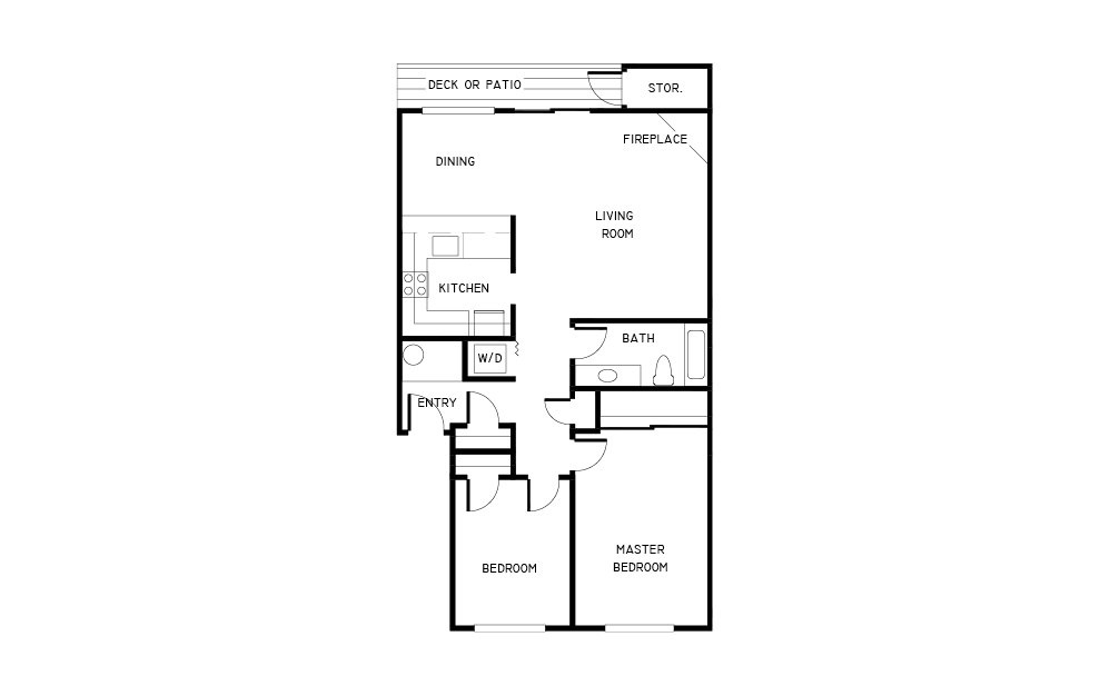 2x1 - 2 bedroom floorplan layout with 1 bath and 841 square feet.