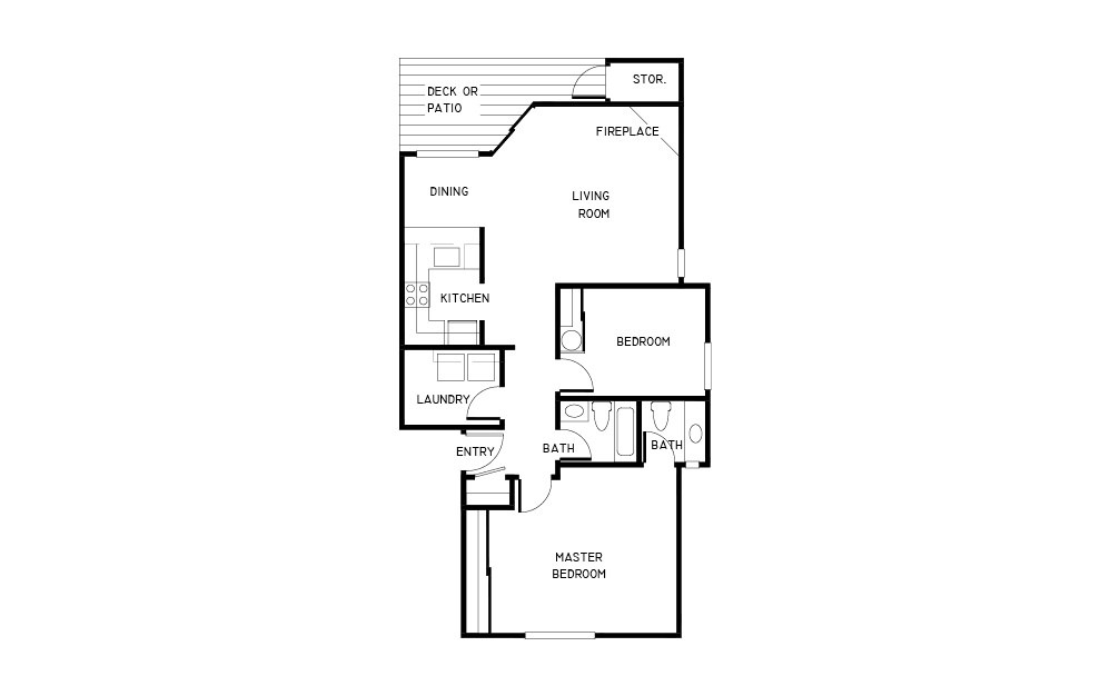 Cedardale 3 - 2 bedroom floorplan layout with 1.5 bath and 905 square feet.